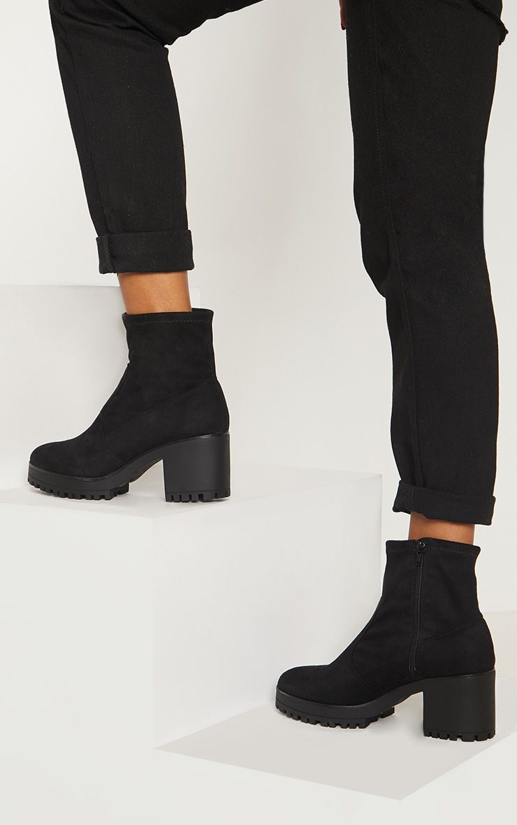 Black Chunky Sock Boot | Boots, Ankle