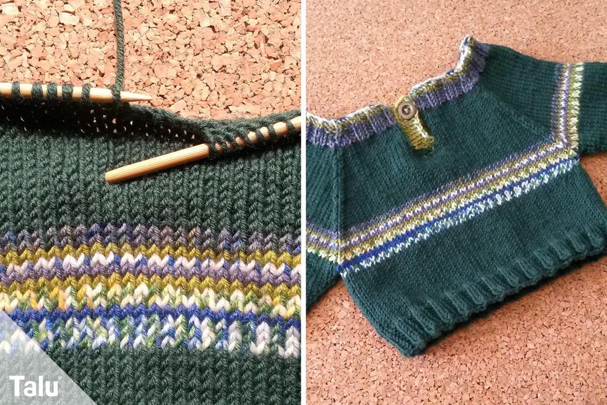 Süßen Baby Pullover stricken Anleitung für Größen 56 86
