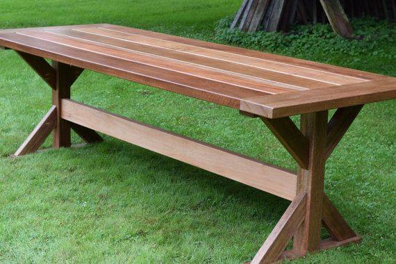 The Lucy Mahogany Outdoor Dining Table Trestle Table Patio Table