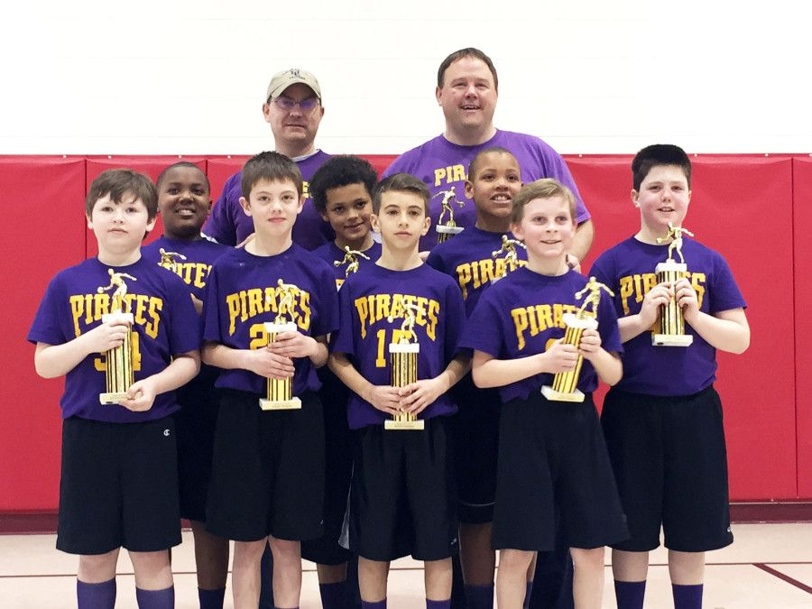 The Pirates beat the Blazers to win the WLBL 4th grade boy's championship. The team is coached by Scott Strite and Tim Markey. Pictured (l to r): First Row - Branden Williamson, Jacob Sundberg, Matthew Lindo, Colin Markey. Second Row - Aalijah Williams, Logan Balaban, Corey Shaeffer Jr., Hagan Strite. Third Row - Assistant Coach Tim Markey, Coach Scott Strite. Absent from the picture: Barrett Ralston.