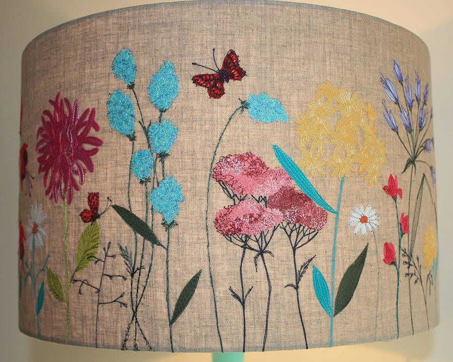 large u0027meadow lampshade by lara sparks embroidery love it - Large Lamp Shades