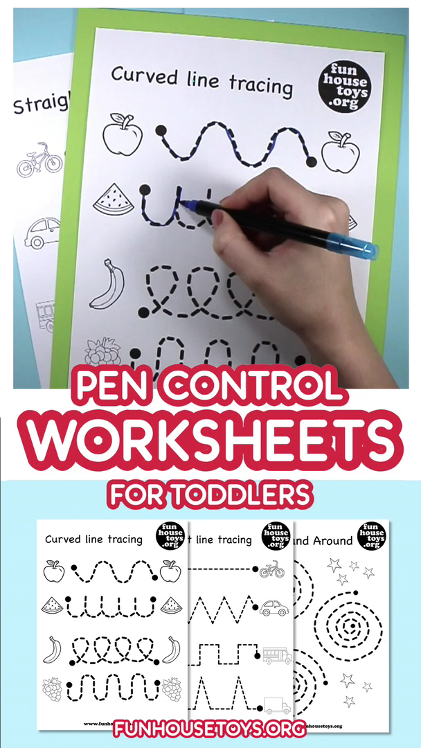 Our pen control and tracing printables are a fun way to teach toddlers how to hold and use a pen. With