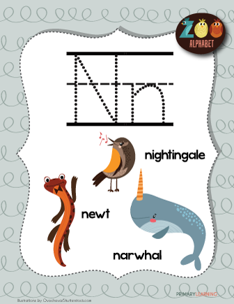 Letter N Animals Printable Poster Primarylearning Org N Animals Alphabet Letter Hunt Lettering