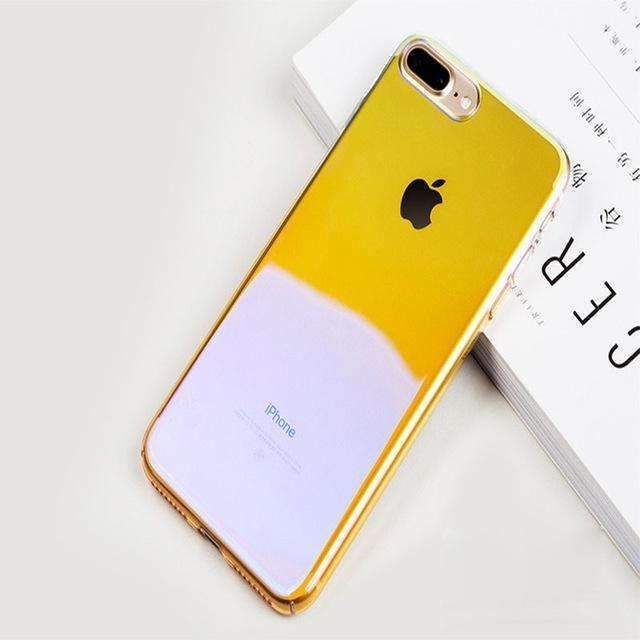 18571db8741 For iPhone X Case Full Body Plating Gradient Color Blue Ray Light Aurora  Clear Hard PC Phone Cover Case For iPhone 7 8 6 6S Plus