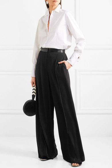 Yuli Satin-trimmed Crepe Wide-leg Pants - Black Elizabeth & James LpI5dhr76m