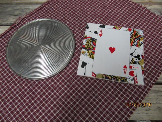 Vintage Trivets Hot Plates Round Aluminum Hot Plate Ace Of Hearts Square Trivets by EvenTheKitchenSinkOH on Etsy