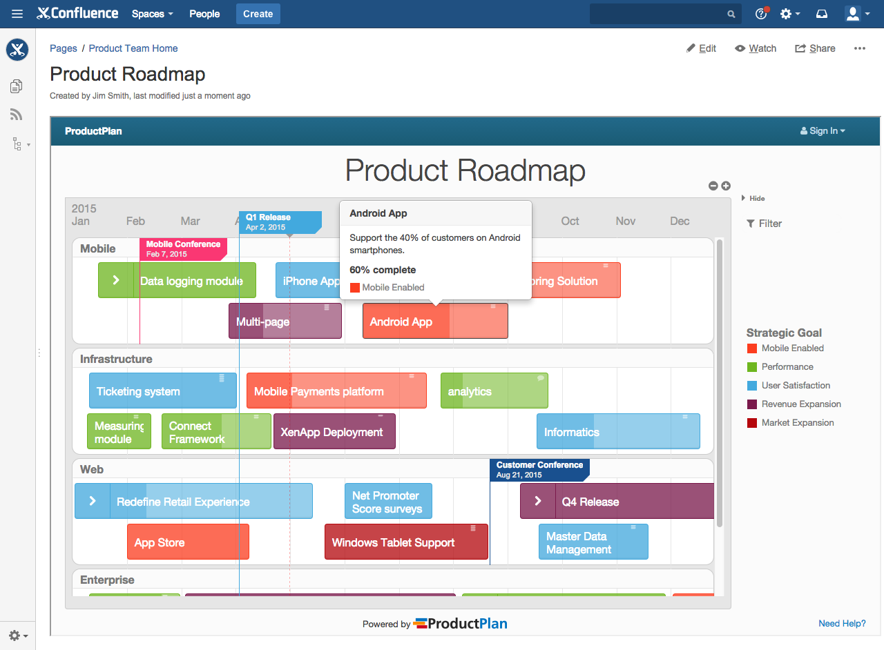 Product and marketing teams can integrate ProductPlan