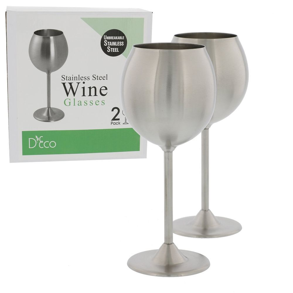 2x Deco Stainless Steel Wine Glass Outdoor Party Camp Poolside Drinkware 12oz #deco