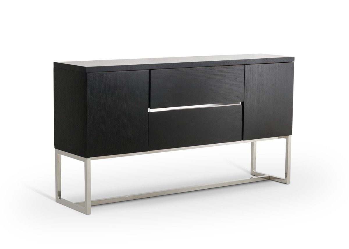 Modrest Drexler Modern Black 2 Door Buffet BuffetBlack DoorsDining Room