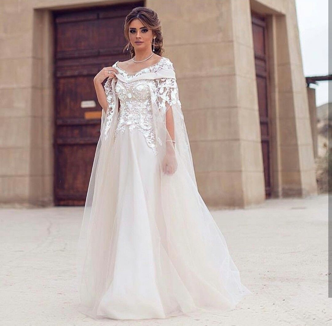 China Dress Dinner Suppliers Short Sleeves Sheer Bateau Neck Flower Lace Maternity Wedding With Removable Cape Destination Arabic Dubai