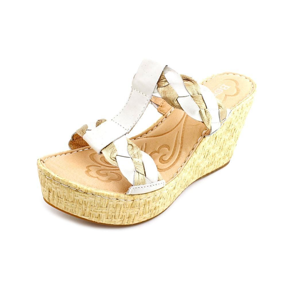 Born Barstow Womens Size 8 Ivory Leather Wedge Sandals Shoes