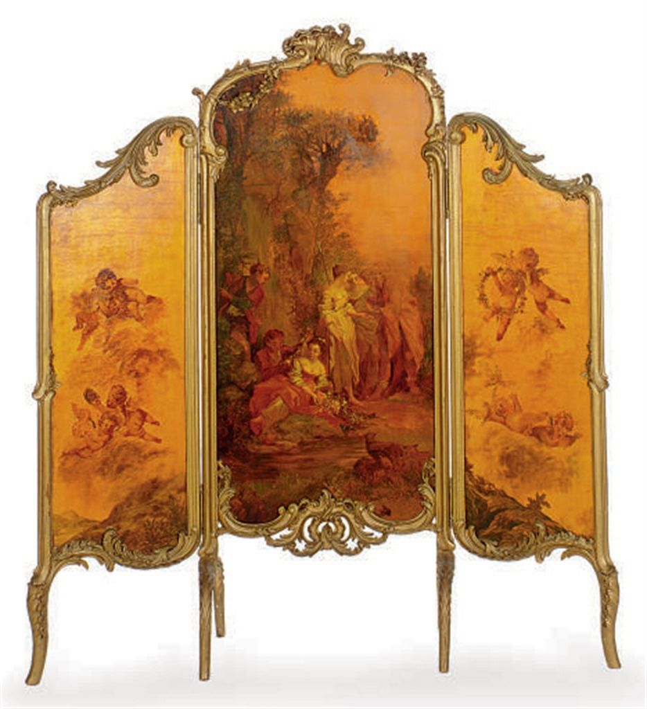 A French Polychrome Painted And Giltwood Three Panel Floor
