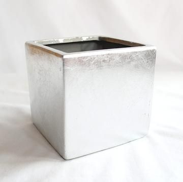 Silver Ceramic Cube Vase Sold By Pack Of 6 5in Tall X 5in Wide