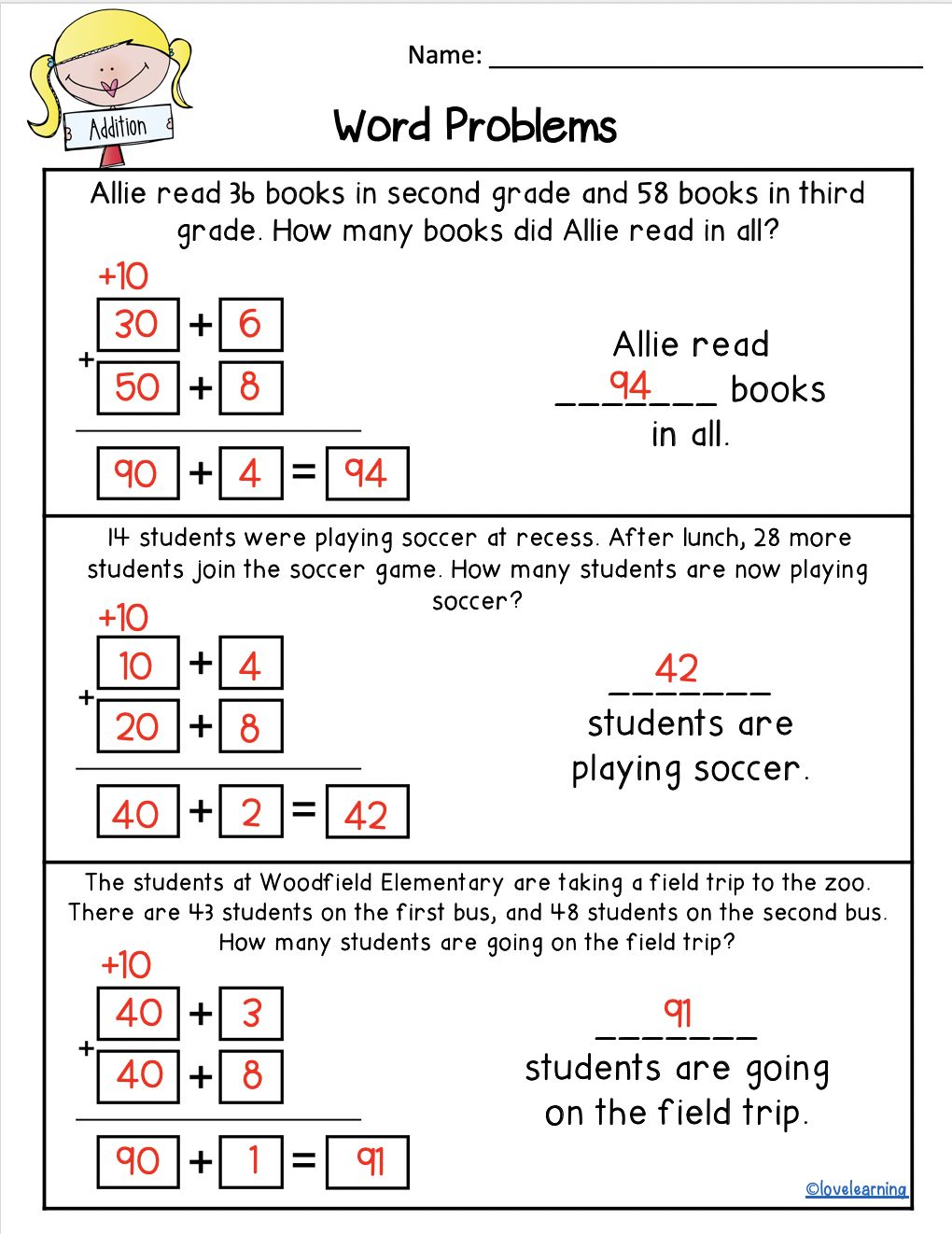 2 Digit Addition With Regrouping Using The Expanded Form Strategy Addition Words Addition Word Problems Word Problem Practice Addition using expanded algorithm