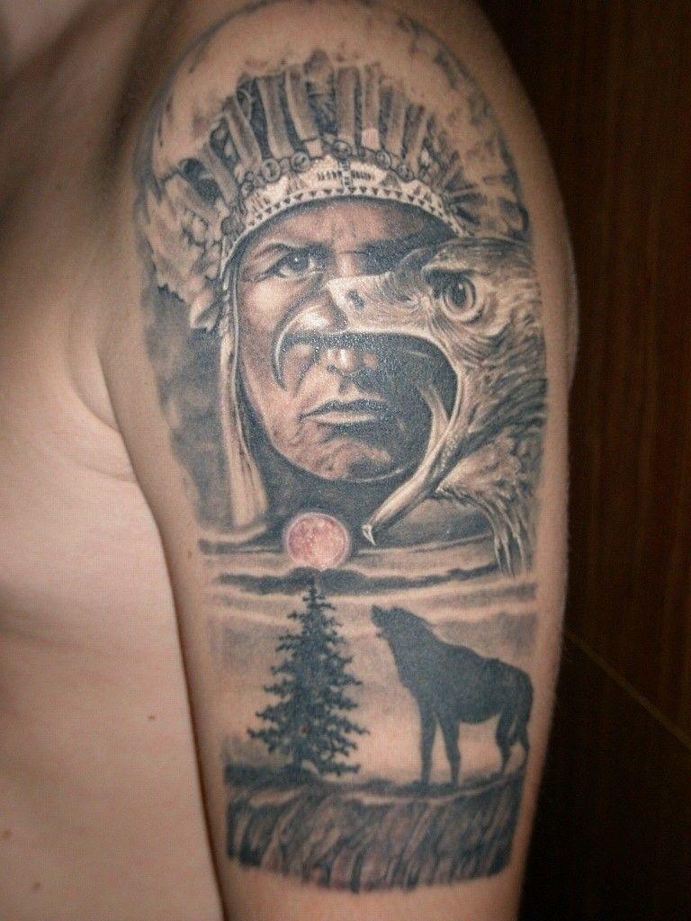 Grey Wolf Indian Back Tattoo Indian Headdress Tattoo Tribal Wolf Tattoo Native Tattoos