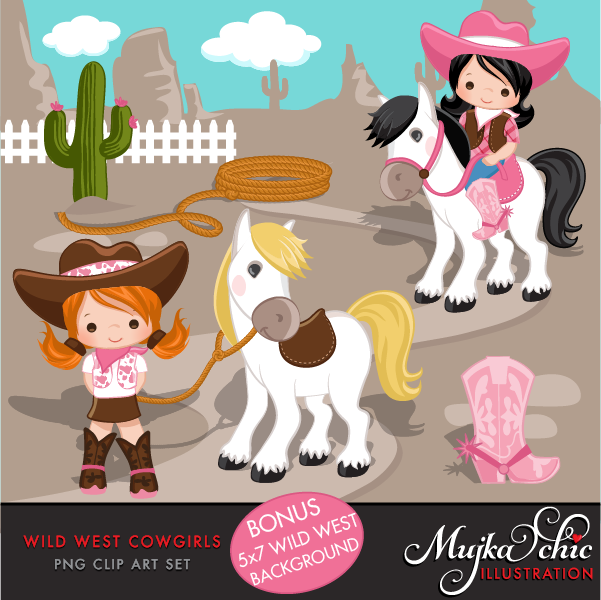 Wild West Cute Cowgirl Clipart- Pink & Brown Instant Download ...