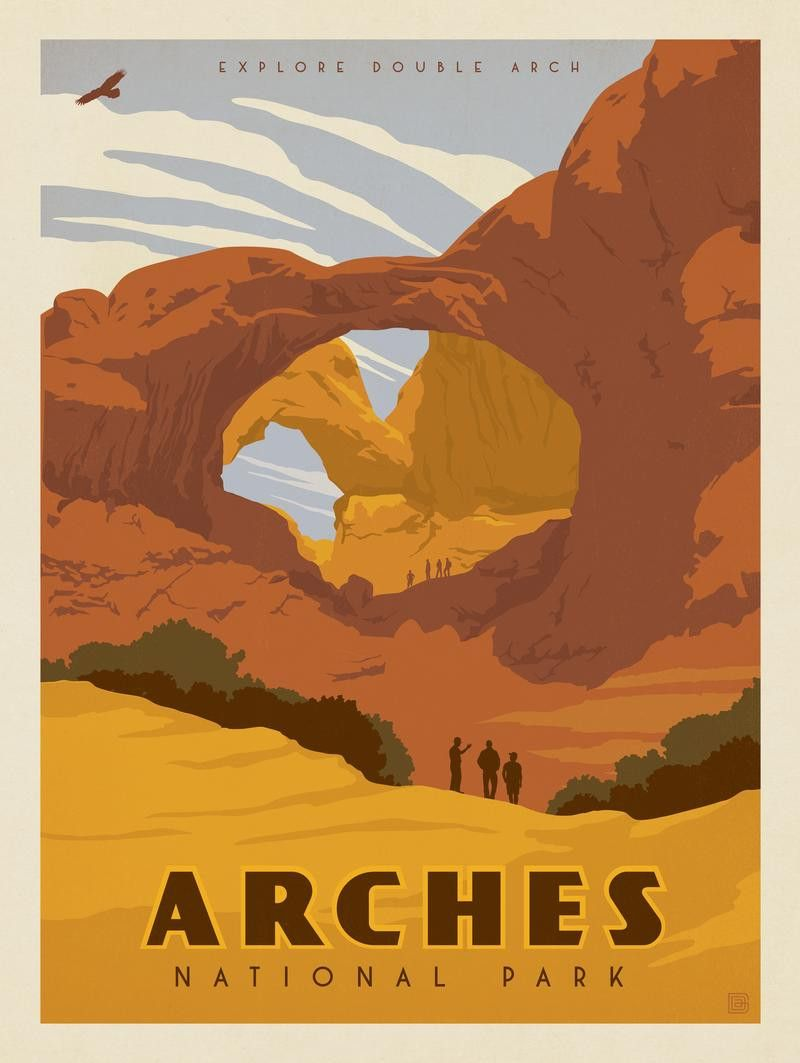 Arches National Park Double Arch National Park Posters Park Art Vintage Travel Posters