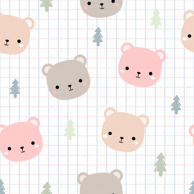 Cute Teddy Bear Head With Grid Cartoon Doodle Seamless Pattern Cute Patterns Wallpaper Teddy Bear Wallpaper Kawaii Wallpaper