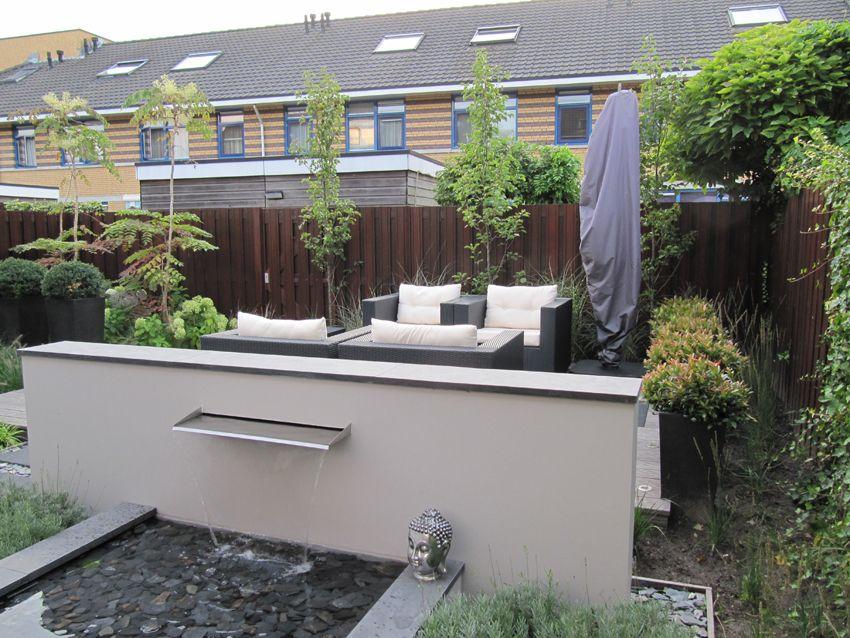 Leuk idee voor geluid van water bij lounge terrasje tuinen pinterest salotti acqua e tuin - Voorbeeld van houten pergola ...