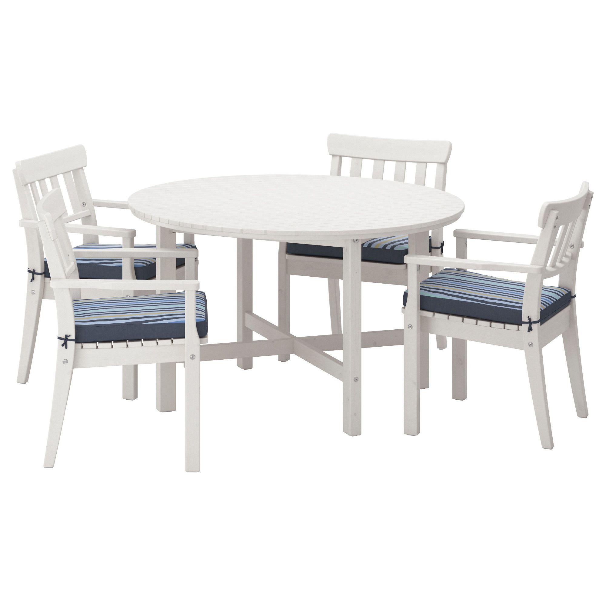 ÄNGSÖ, Tisch+4 Armlehnstühle/außen, weiß las., blau Jetzt bestellen ...
