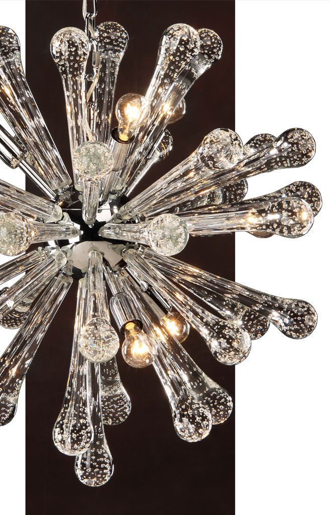 Beautiful Modern Hand Blown Clear Venetian Glass Chandelier With