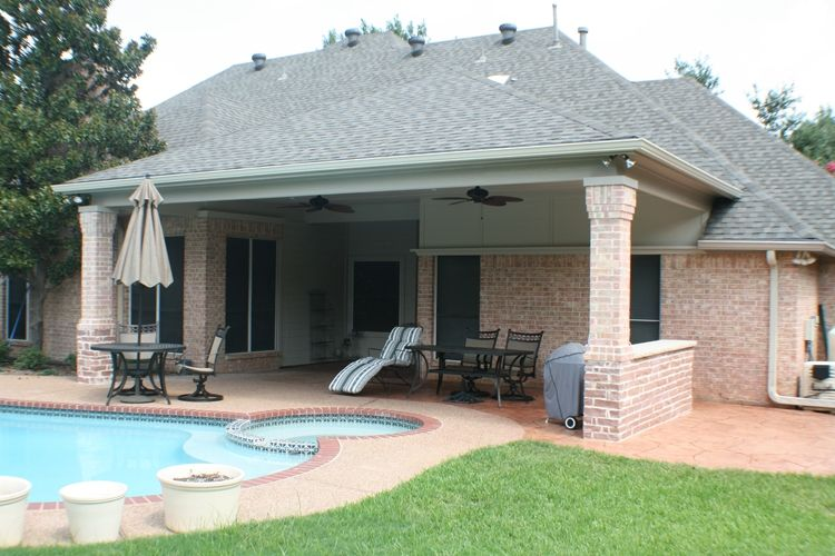 Colleyville covered patio from back with pool back porch for Pool veranda designs