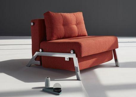 fauteuil convertible special petits espaces gris ou bleu cubed 02 chrome par innovation living. Black Bedroom Furniture Sets. Home Design Ideas