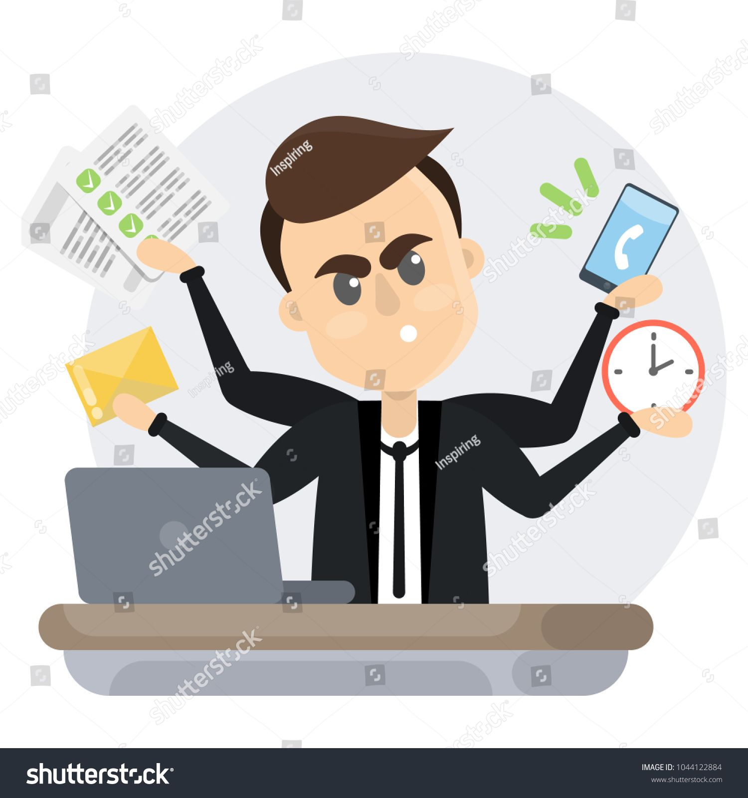 Businessman In A Rush Sitting Angry Because Of Deadline