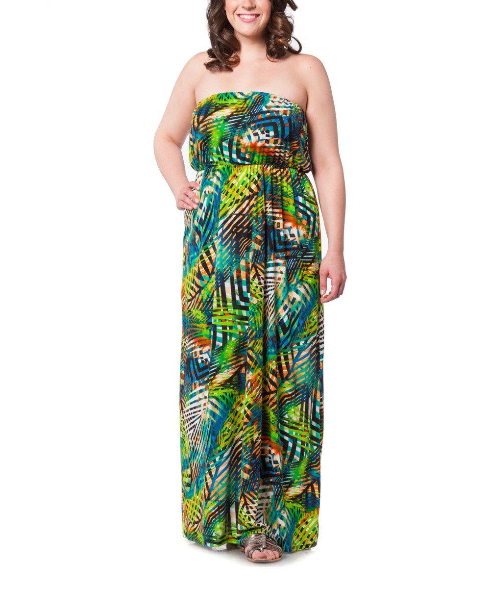 Look at this Green Safari Blouson Maxi Dress - Plus on #zulily today!