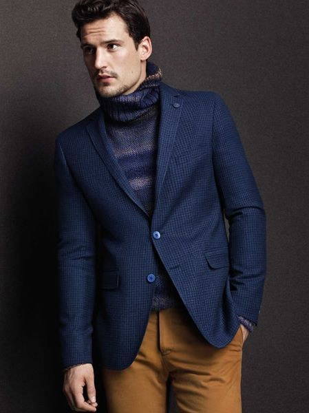 Men's Navy Blazer, Navy Turtleneck, Brown Chinos | Brown chinos ...
