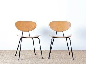 paire de chaise mod le 145 designer kurt nordstr m diteur knoll international usa. Black Bedroom Furniture Sets. Home Design Ideas