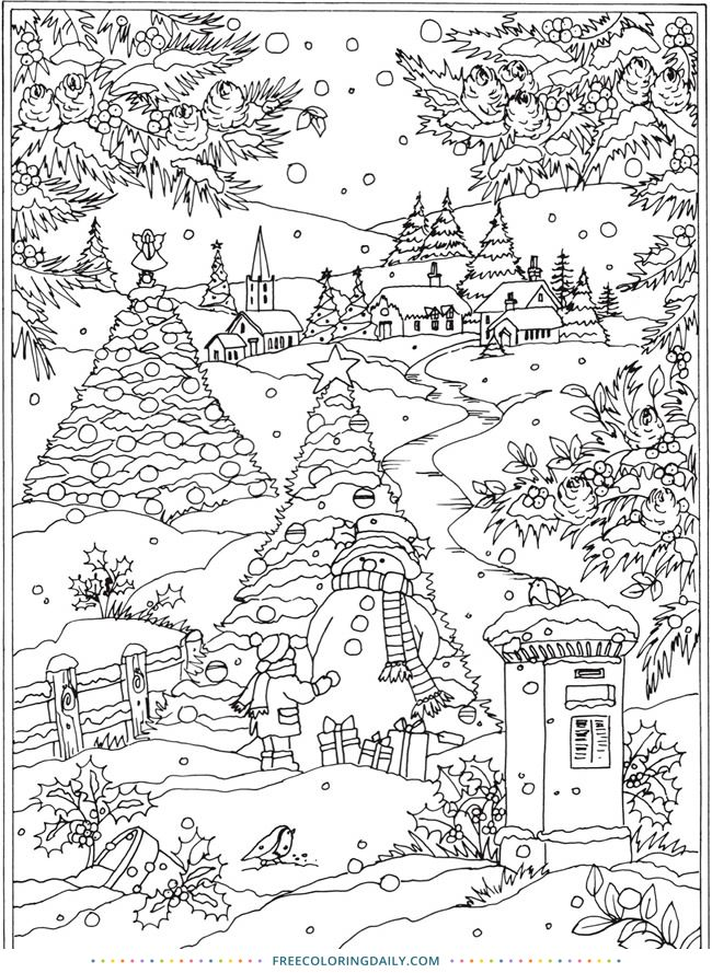 Free Snowy Winter Scene Coloring Coloring Pages Winter