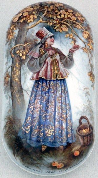 "Fedoskino. Russian Lacquer Art Titled ""Apple Tree"" Artist Tat'yana Dmitrieva"