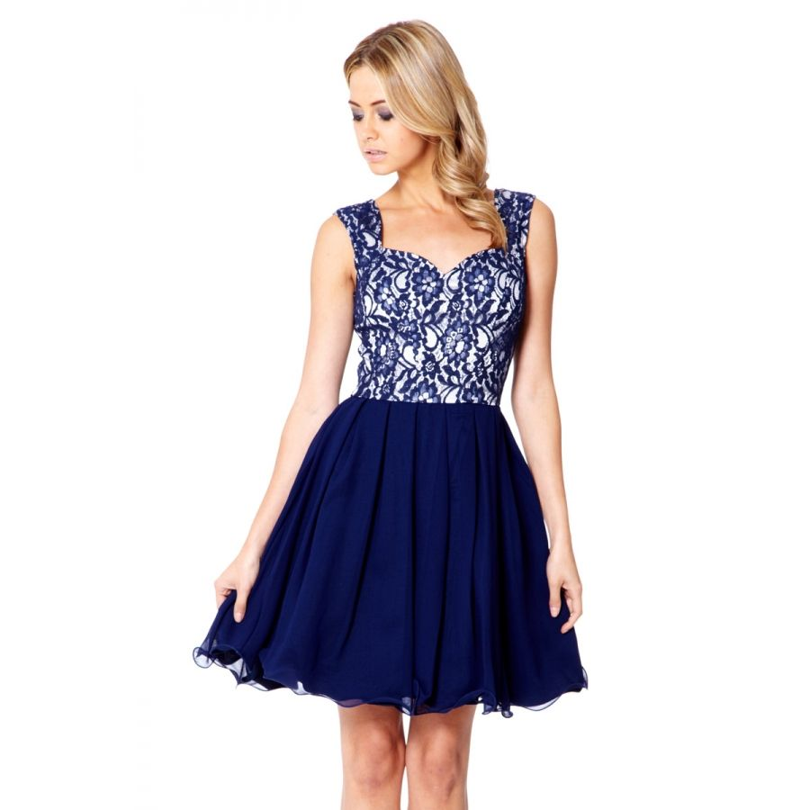 Navy Lace Chiffon Prom Dress - Quiz Clothing  c7607cd41