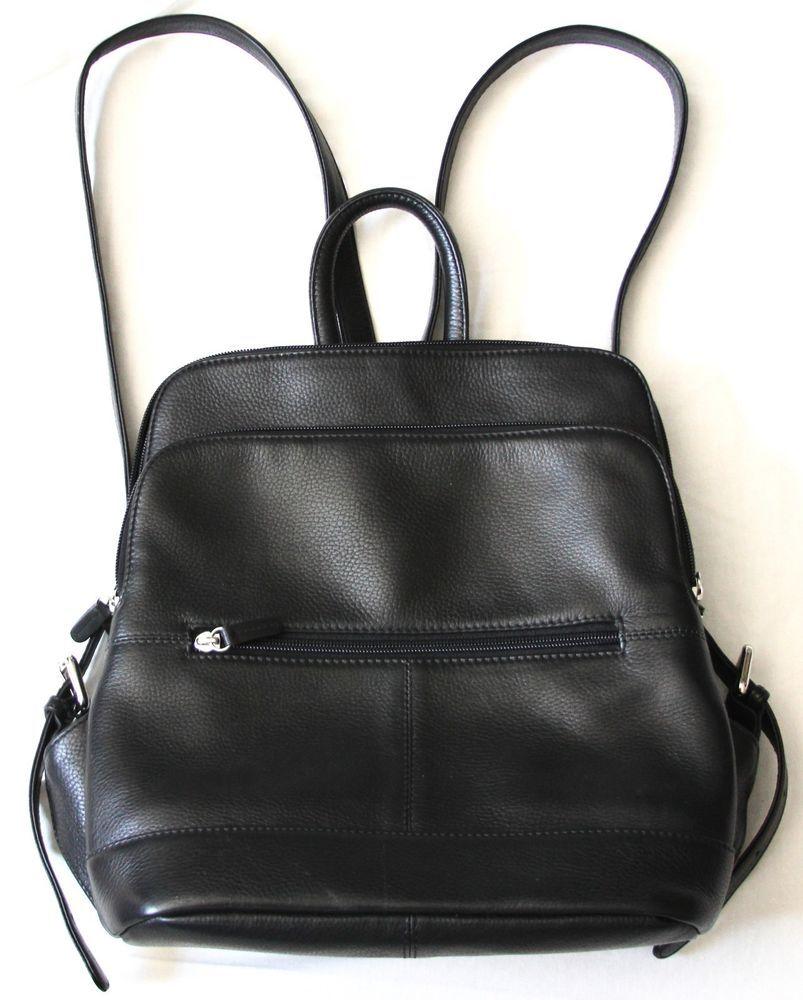 half off marketable original ili Genuine Leather Backpack Purse Black Red Medium Adj ...