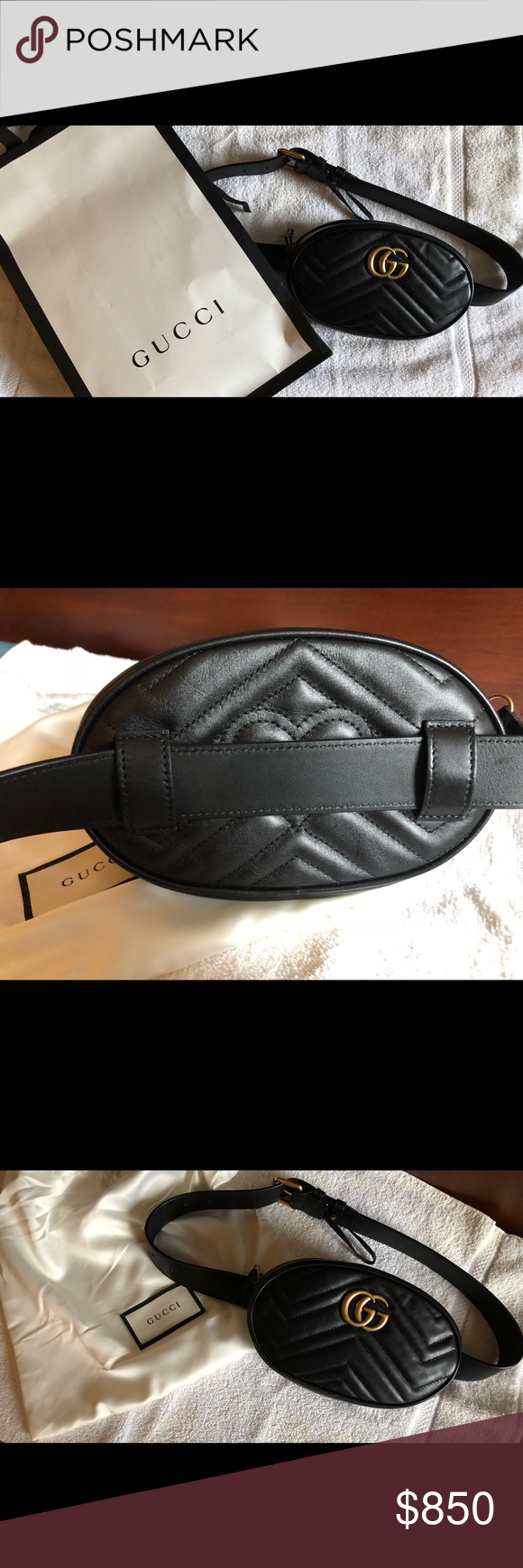ef9a42a0aae Authentic new Gucci Marmont Matelassé belt bag Brand new barely used Fall  2017 Gucci belt bag. Black leather belt bag fanny pack. Perfect for  carrying cell ...