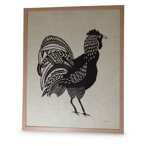 Rooster large original illustration and hand cut paper cut - via DTLL.