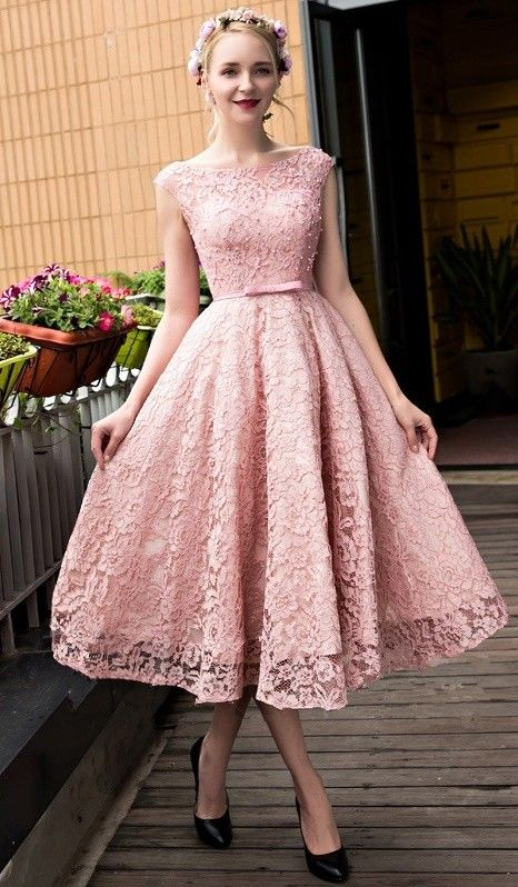 Glamorous Pink Beadings Lace-up Lace Tea Length A-line Prom Dress