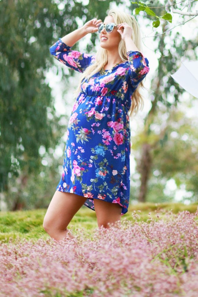 257e3ab9548e5 Royal Blue Floral 3/4 Sleeve Chiffon Maternity Dress | Bébé ...