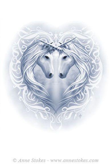 Anne Stokes unicorn heart round purse