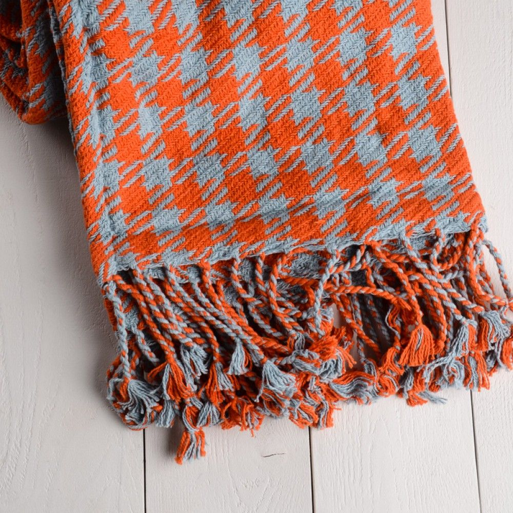 Twill Houndstooth Cotton Throw Blanket in Orange and Blue.
