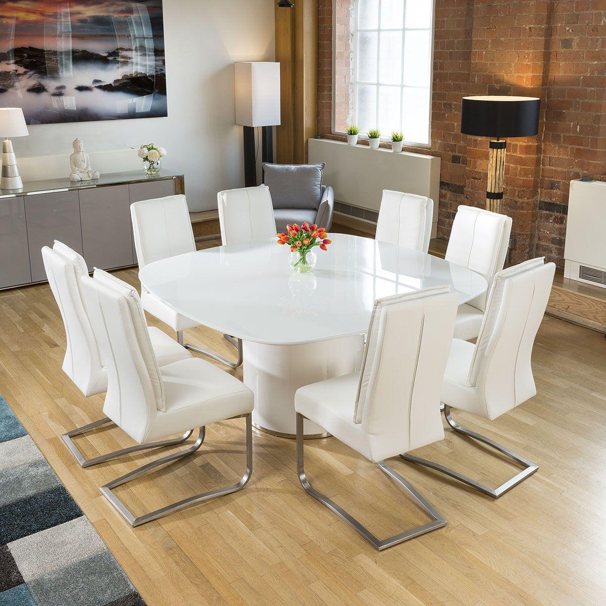Quatropi Square White Glass Dining Table 8 Extra Padded White Chairs Square Glass Dining Table White Glass Dining Table Glass Dining Table