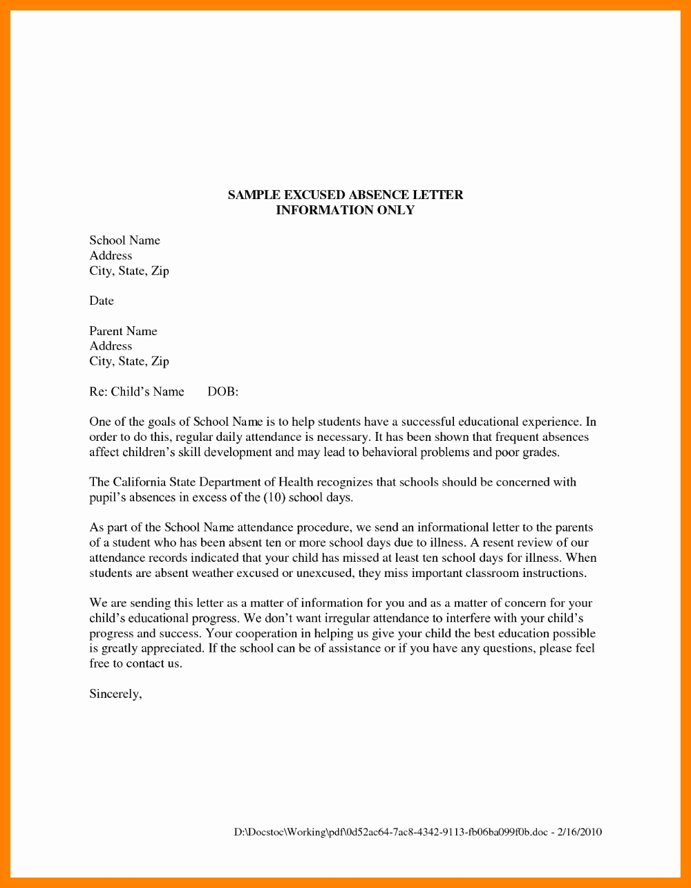 Excuse Letter For School Notes To Parents School Template Lettering