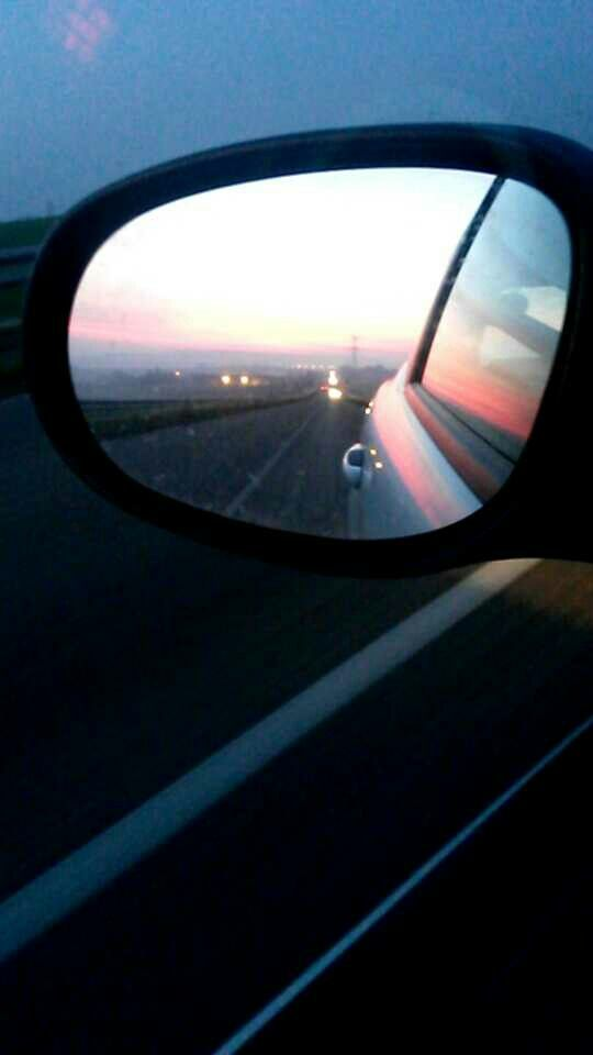 Sunset, on the road again- back home