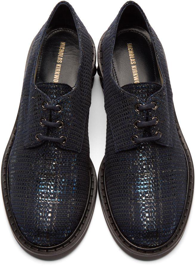 Nicholas Kirkwood Navy Metallic Weave Casati Pearl Derbys CEs1j
