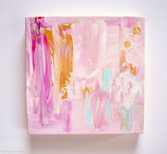 Charming: Abstract Painting Original Art - Pink, Gold, Mint Green 12 x 12