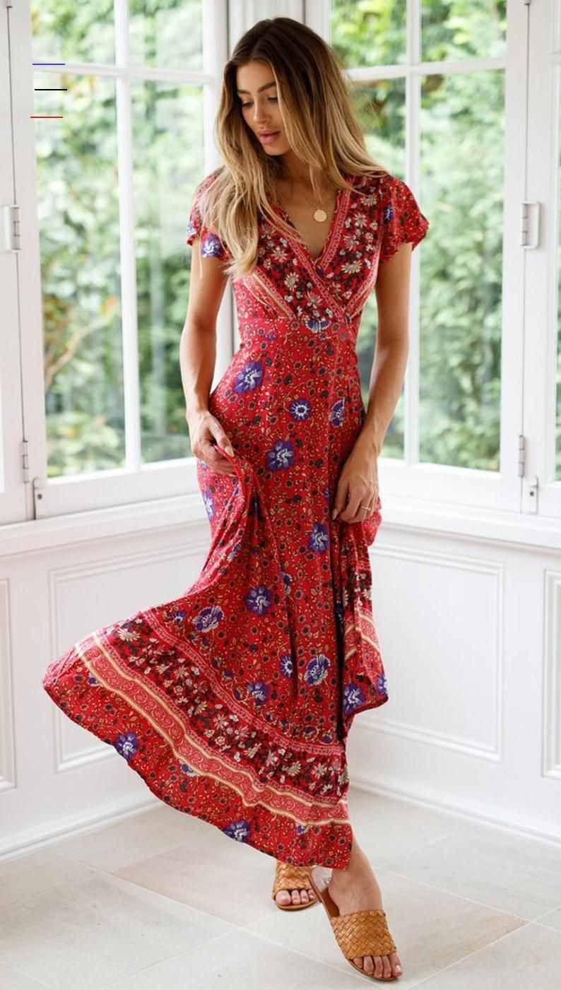 Boho-Stil Kurzarm tief gedruckt langes Kleid, Frauen straped