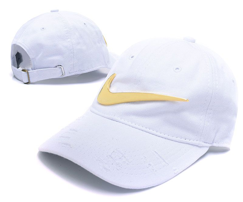 a2e3bfe27ae Men s   Women s Nike Big Swoosh Metal Golden Vintage Adjustable Dad Hat -  White   Gold