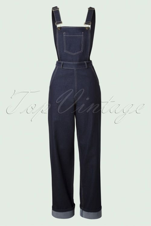 Collectif Clothing - 50s Pippa Denim Dungarees in Denim Blue Moda De  Rockabilly 017bcb20186