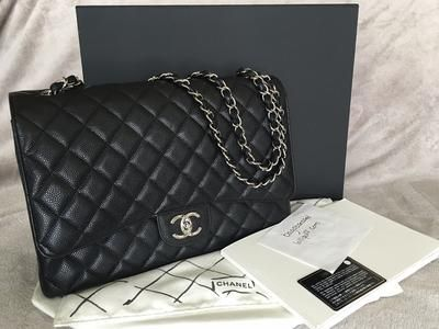 332116020944bd CHANEL Classic Maxi Double Flap Bag Black Caviar Silver Hardware | Lollipuff